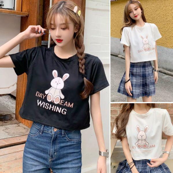 M-XL實拍童趣風兔子玩偶短版T恤 寬鬆短袖上衣(2色)-優美依戀
