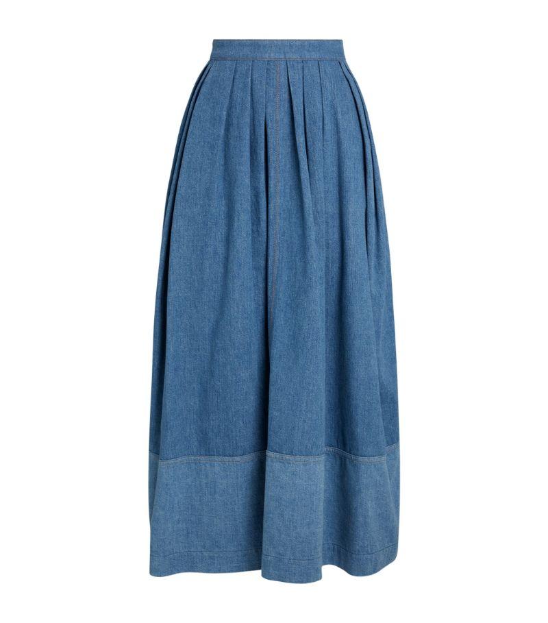 Chloé Denim Pleated Midi Skirt