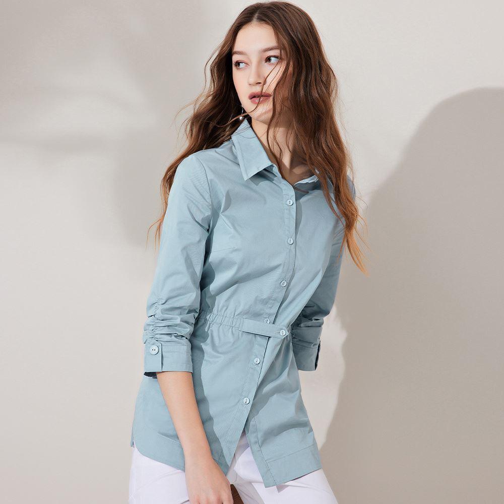 ILEY伊蕾 修身高含棉微彈收腰襯衫(淺藍)1211084914
