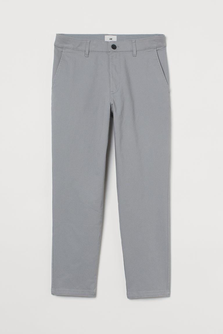 H & M - 貼身九分卡其褲 - 灰色