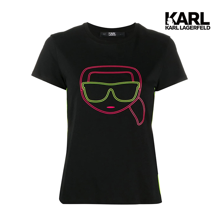 【KARL LAGERFELD】IKONIK霓虹T恤-黑  (原廠公司貨)
