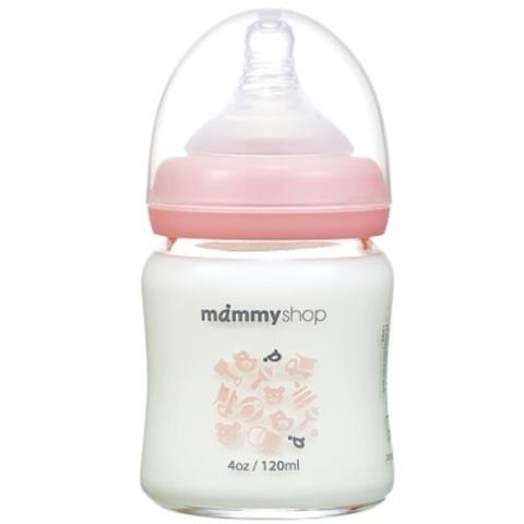 媽咪小站 母感體驗2.0 玻璃奶瓶-寬大口徑120ml(櫻花粉)
