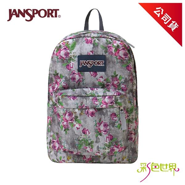 JANSPORT後背包校園背包 花漾灰 JS-43501-0KL 彩色世界