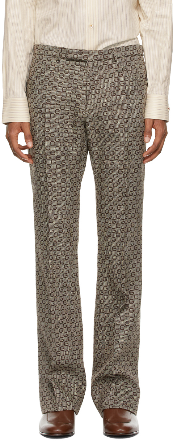 Gucci 棕色 G 提花羊毛长裤