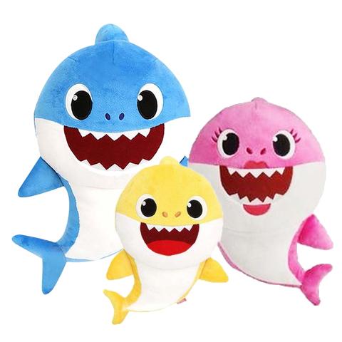 鯊魚家族發聲音樂絨毛娃娃-3款可選
