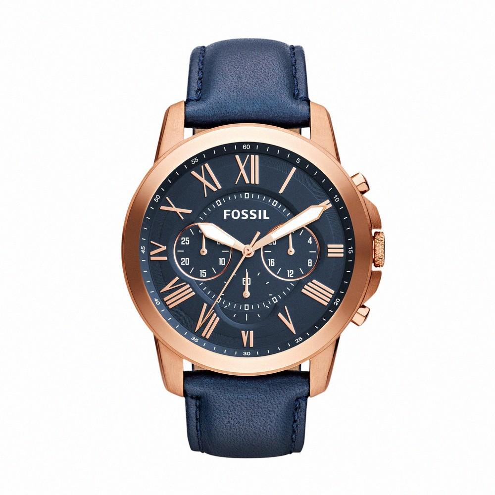 FOSSIL 羅馬優雅風計時的皮帶手錶-深藍色面/44mm(FS4835IE)【ERICA STORE】