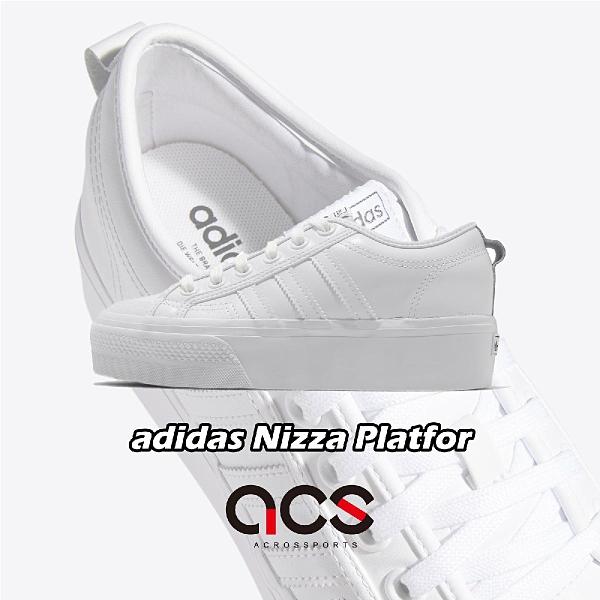 adidas 休閒鞋 Nizza Platform W 白 黑 女鞋 厚底 增高 三葉草 帆布鞋 運動鞋 【ACS】 FW0265