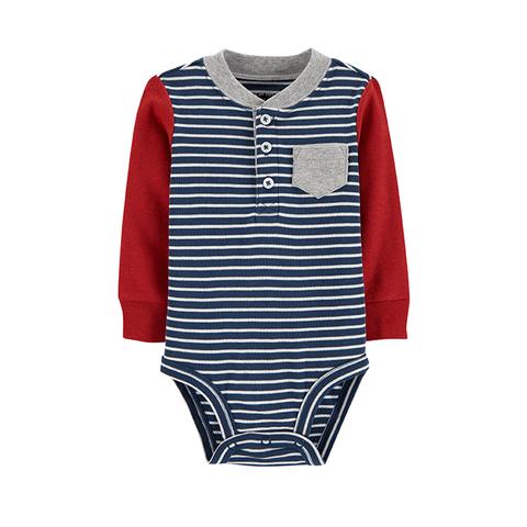 Carter's 台灣總代理 紅藍條紋長袖包屁衣(6M-24M)