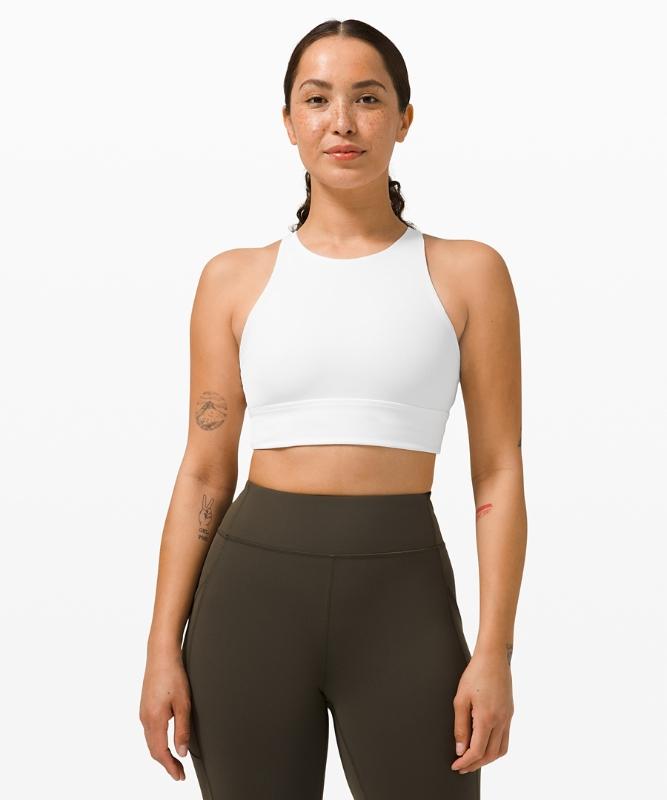 Lululemon Women's Energy Sports Bra High Neck Long Line, White Size 6