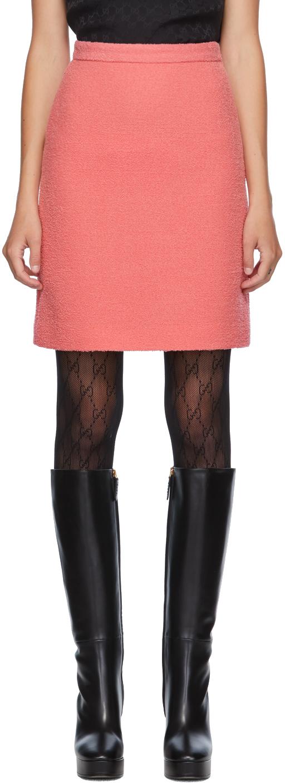 Gucci 粉色羊毛粗花呢短裙