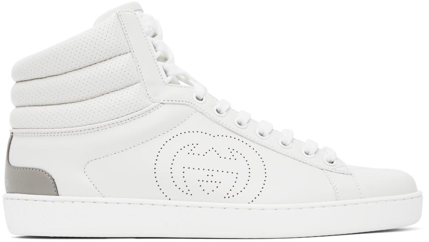 Gucci 白色 Ace 高帮运动鞋