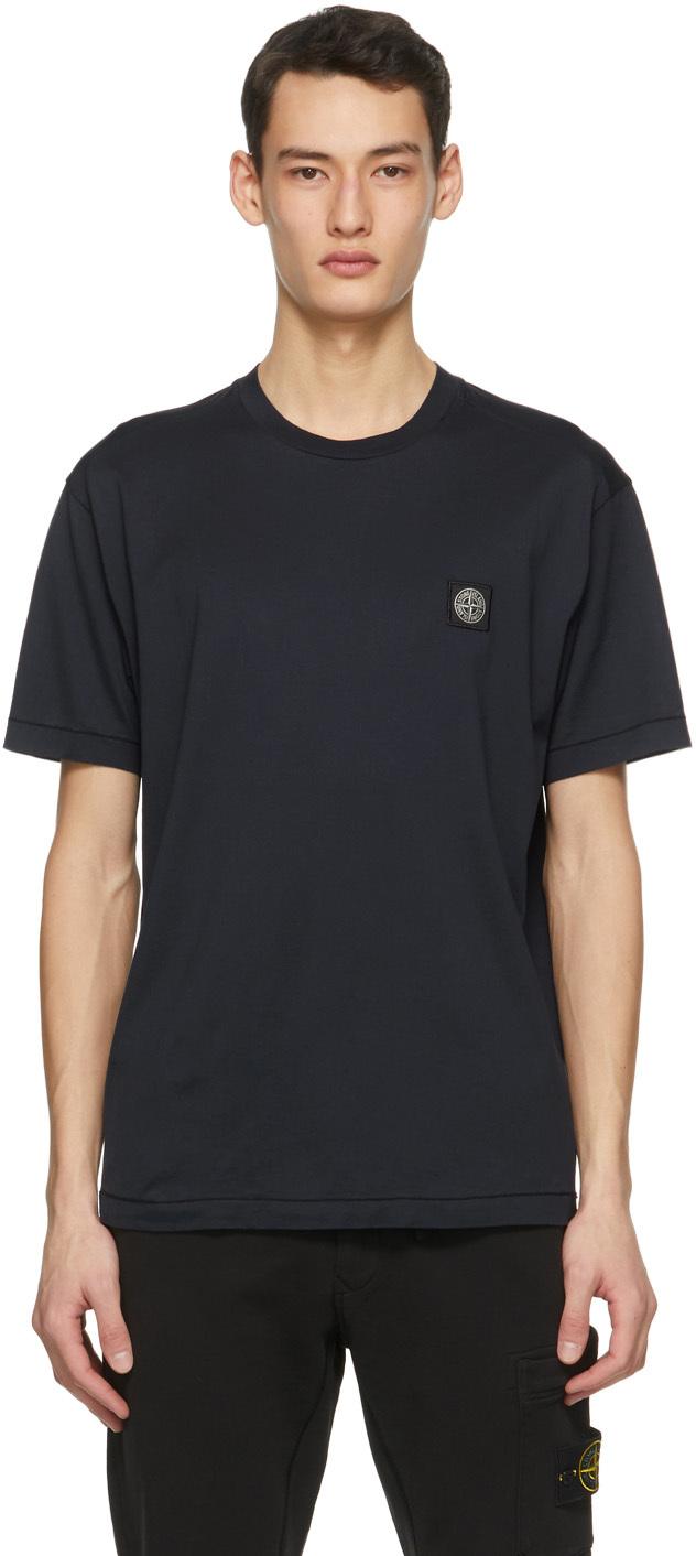 Stone Island 海军蓝徽标纹章 T 恤