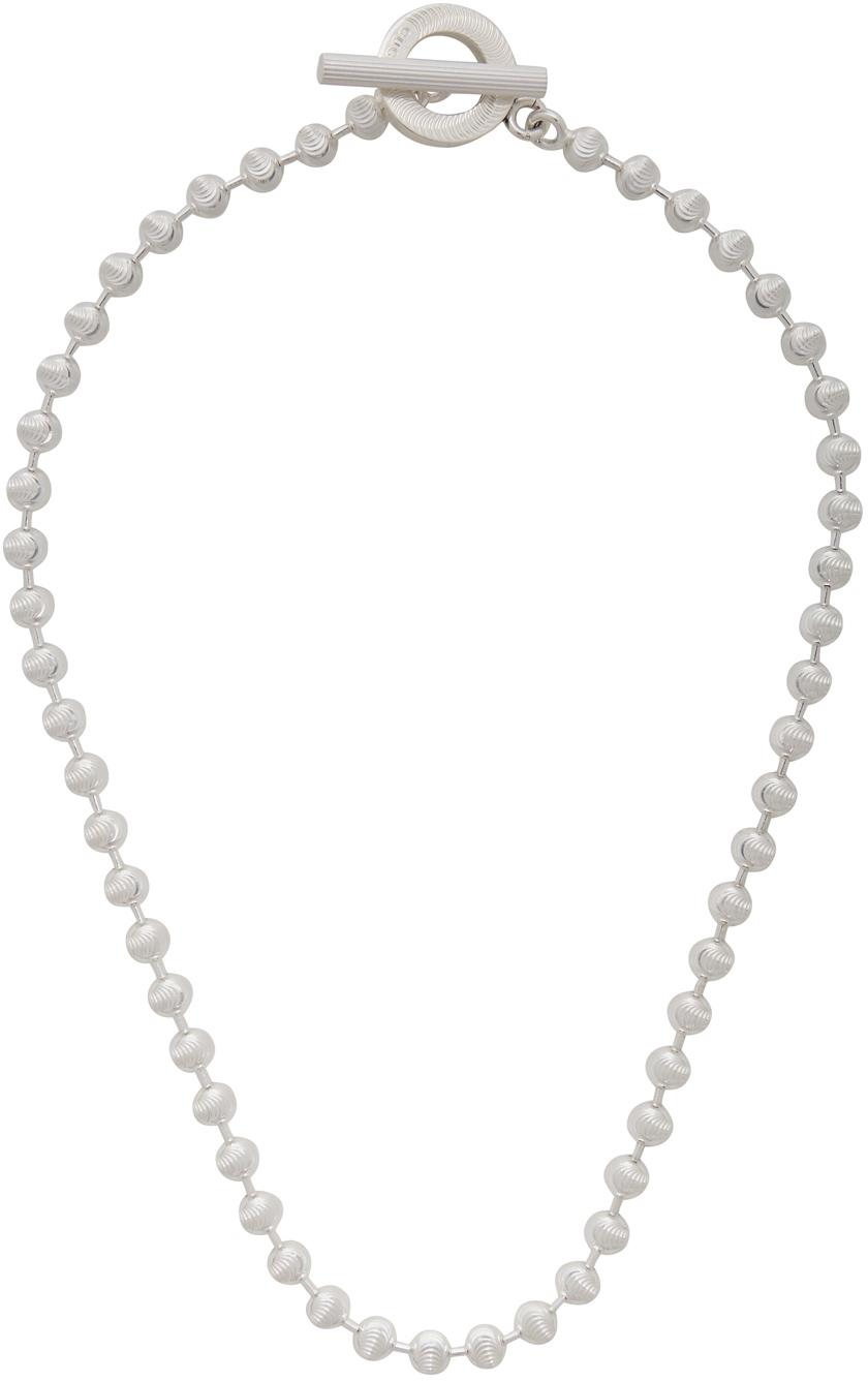 Gucci 银色波珠链项链