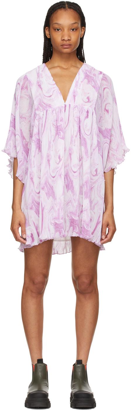 GANNI 白色 & 紫色大廓形褶裥乔其纱连衣裙