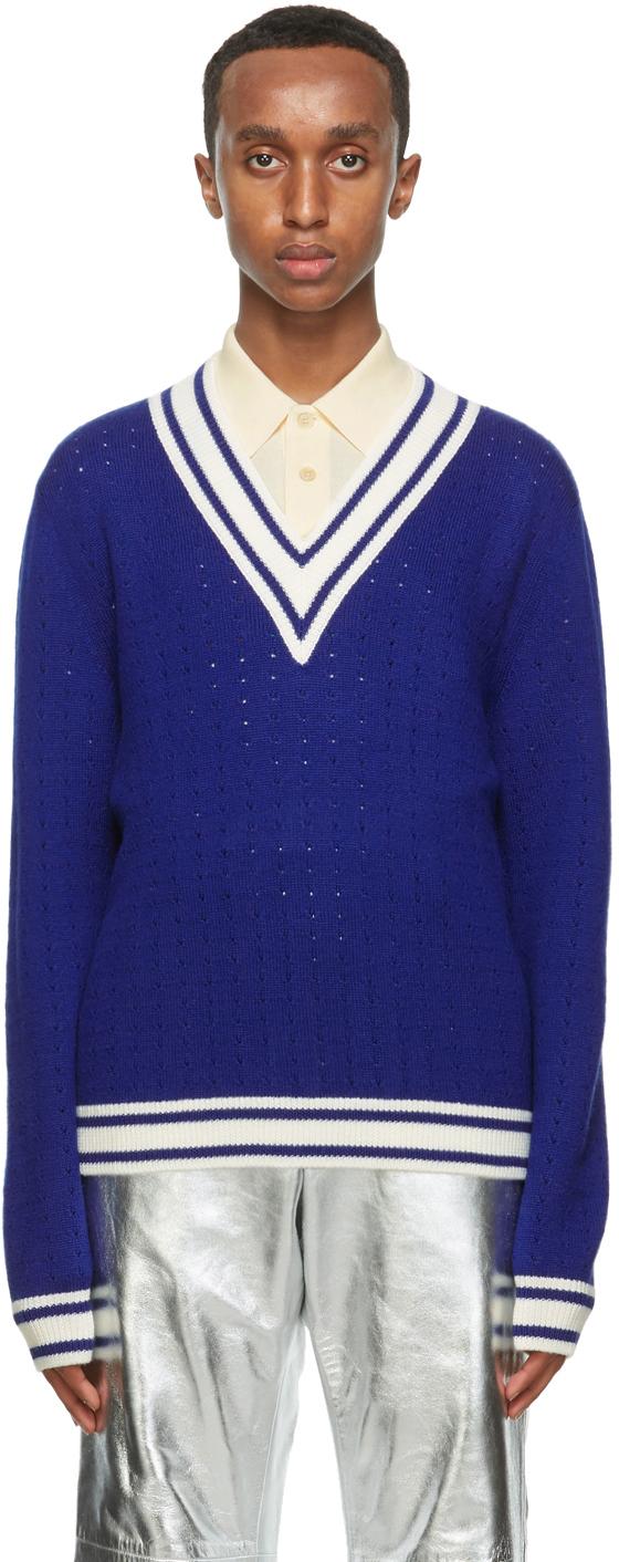 Gucci 蓝色 & 白色 V 领羊毛毛衣