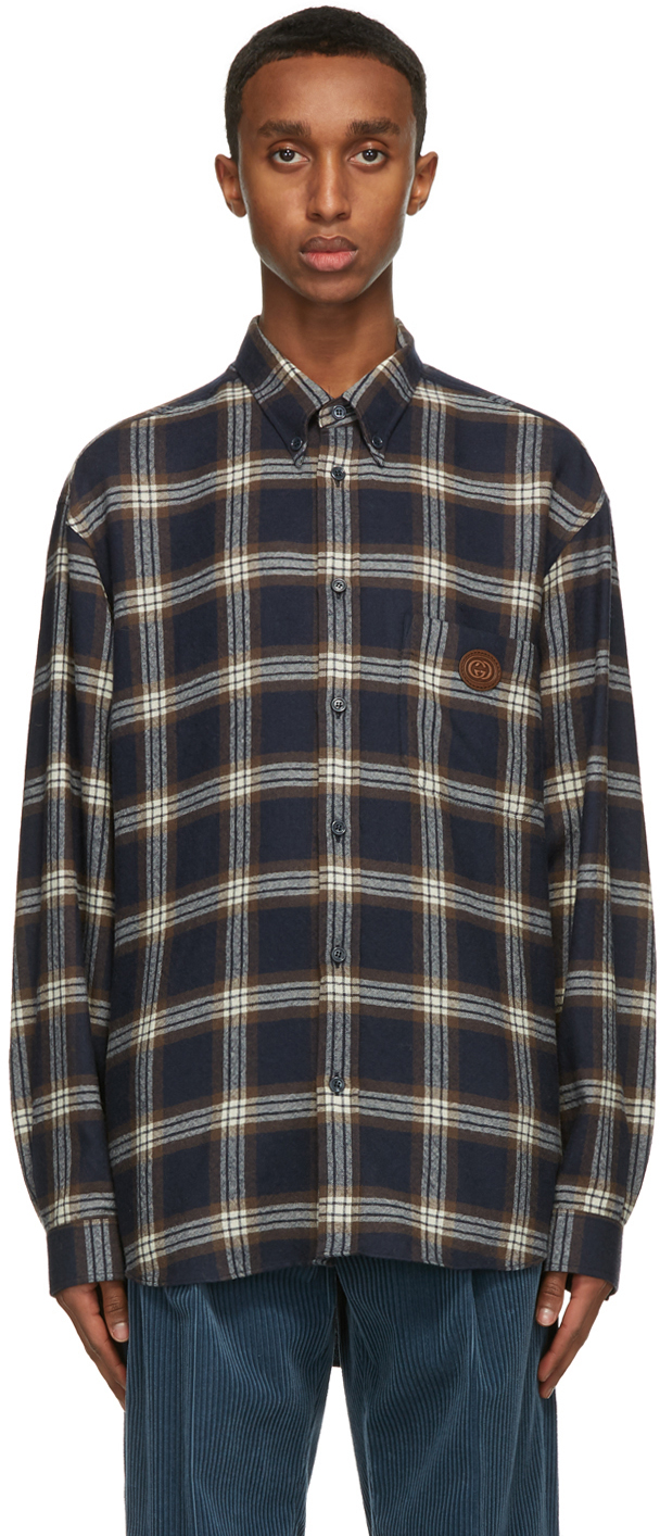 Gucci 海军蓝格纹羊毛衬衫