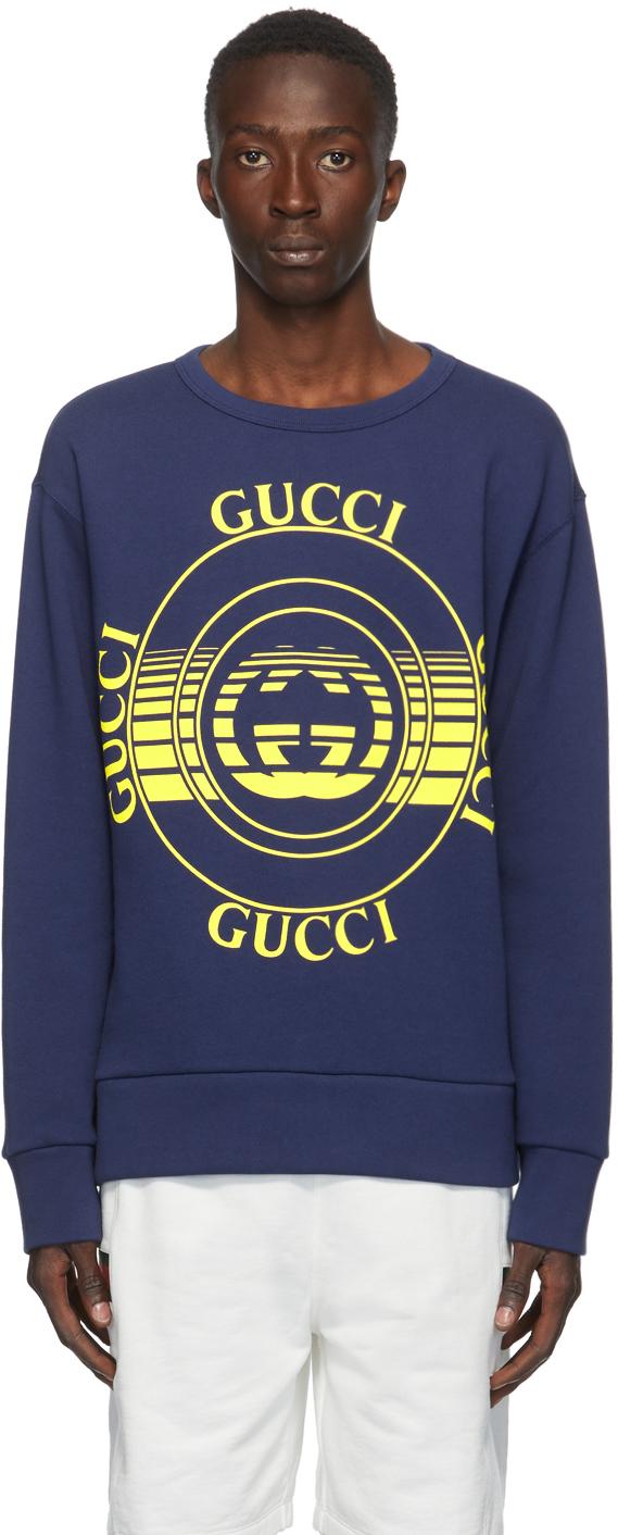 Gucci 蓝色 Interlocking G 圆领套头衫