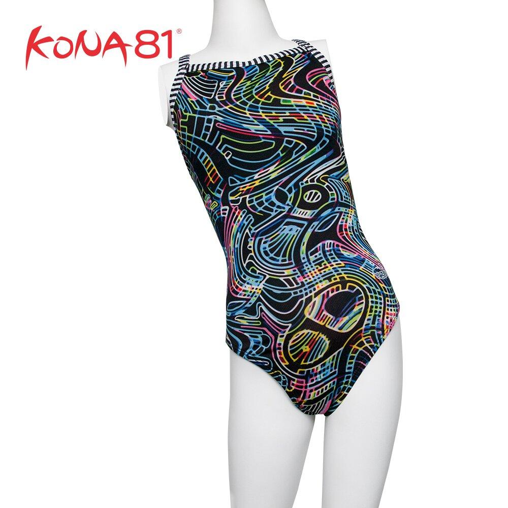 酷吶81 Dolfin 女童時尚幾何造型連身泳裝 圖騰黑