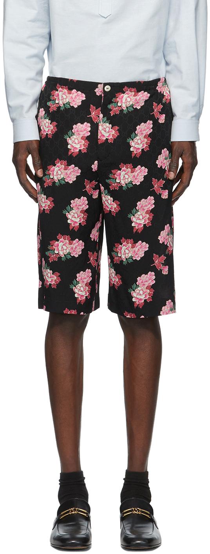 Gucci 黑色 GG Peony Print 真丝短裤