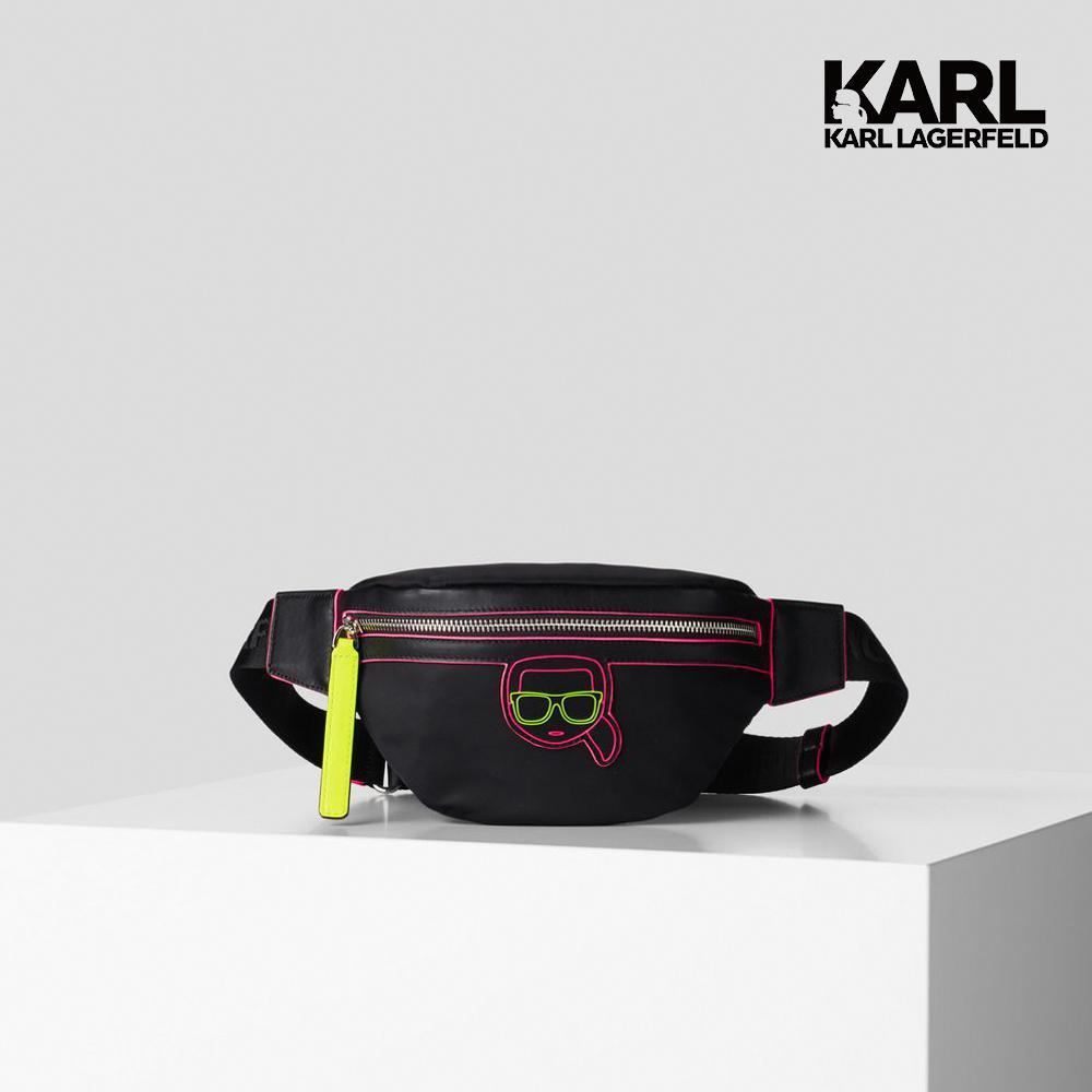 【KARL LAGERFELD】IKONIK霓虹腰包-黑  (原廠公司貨)