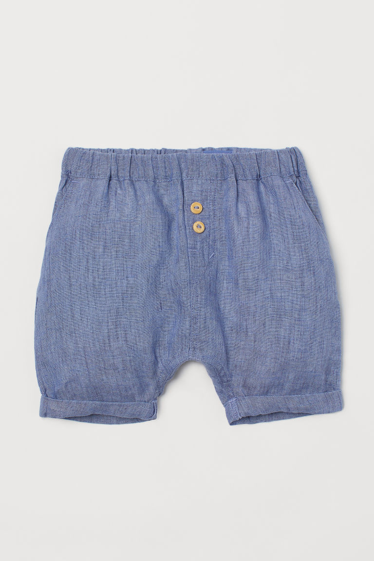 H & M - 亞麻短褲 - 藍色