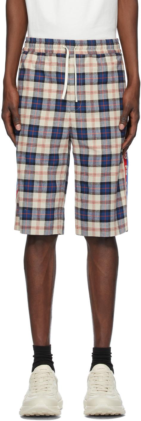 Gucci 驼色 & 蓝色格纹法兰绒短裤