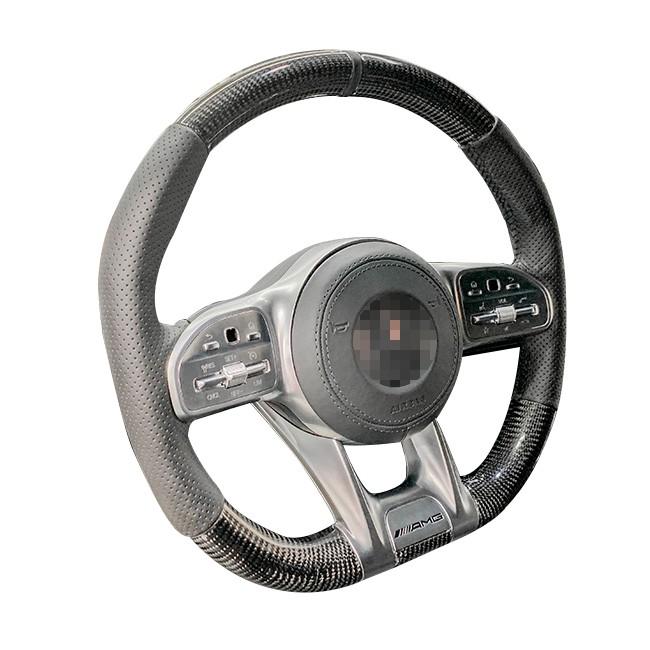 19年後全車系 原車黑色按鈕專用 訂製 方向盤Nappa 碳纖維 w205小改 w177 w118 w247 X157