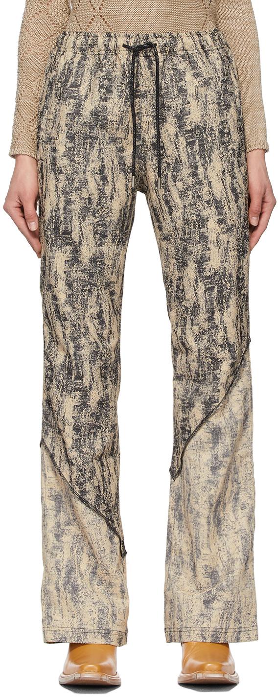 Andersson Bell 驼色 & 黑色 Kendra Contrast Pattern 运动裤