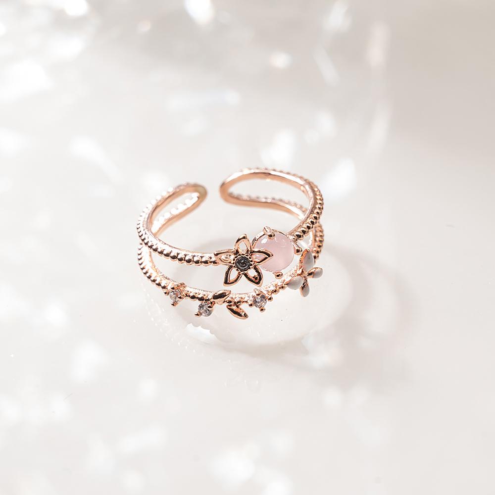 粉嫩花蝶雙層開口戒指-C20154