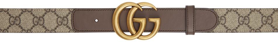 Gucci 驼色 & 棕色 GG Supreme 腰带