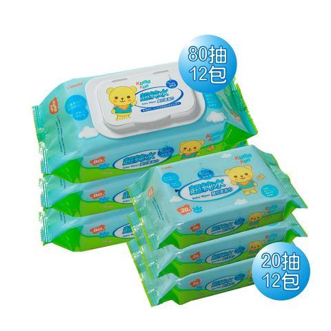 【箱購2箱再88折】Combi 超純水濕紙巾80抽/20抽組合箱購(80抽x12包+20抽x12包)