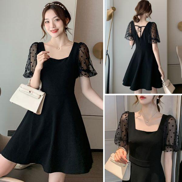 S-XL韓版奧黛麗赫本風收腰顯瘦氣質網紗拼接雪紡連身裙 黑色約會裙子短袖洋裝-凱西娃娃