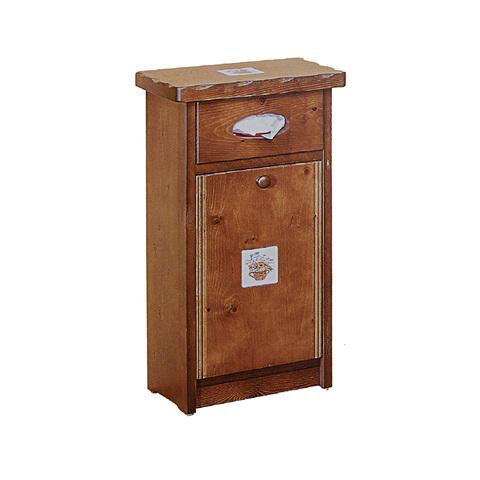 *歐式鄉村凱撒單門垃圾箱-貼磚款(柚木色)