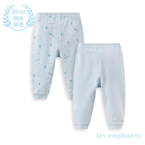 【網路獨家款】les enphants  精梳棉森林兩件組長褲-藍色