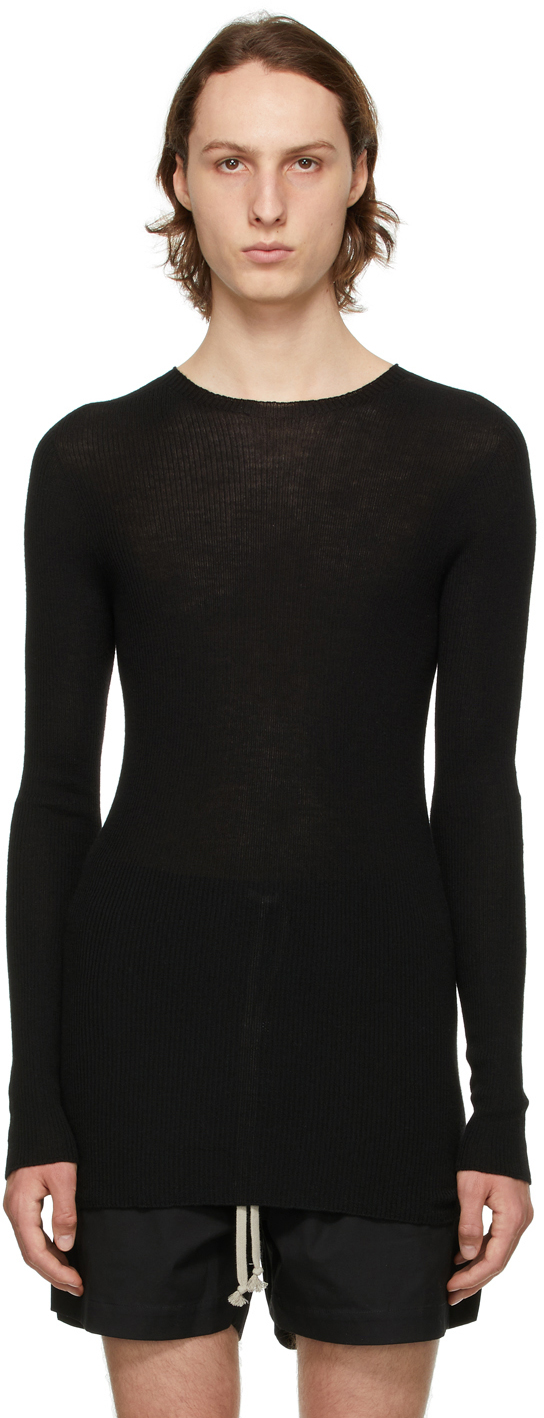 Rick Owens 黑色羊毛毛衣