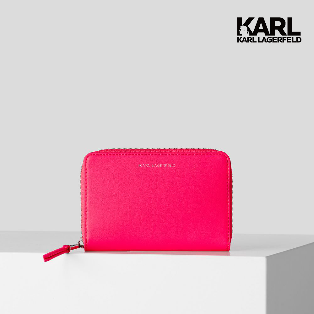 【KARL LAGERFELD】KARL Seven拉鏈中夾-螢光粉  (原廠公司貨)