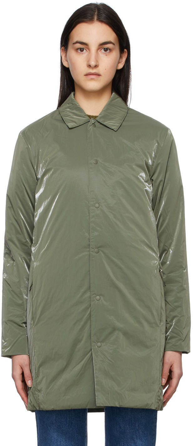RAINS 军绿色 Drifter Mac 大衣