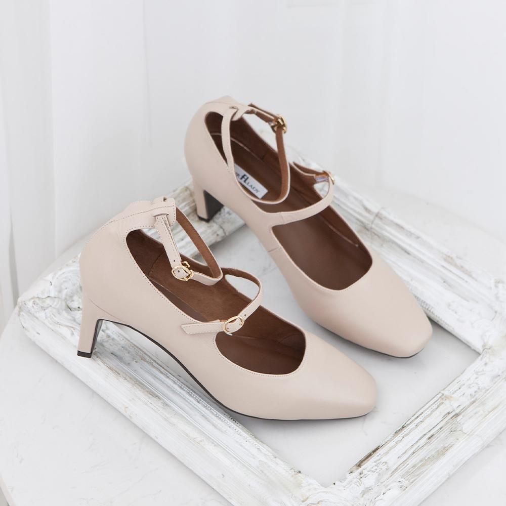 優雅小姐.方頭絨布瑪麗珍繫踝扁跟鞋  杏 (602329)