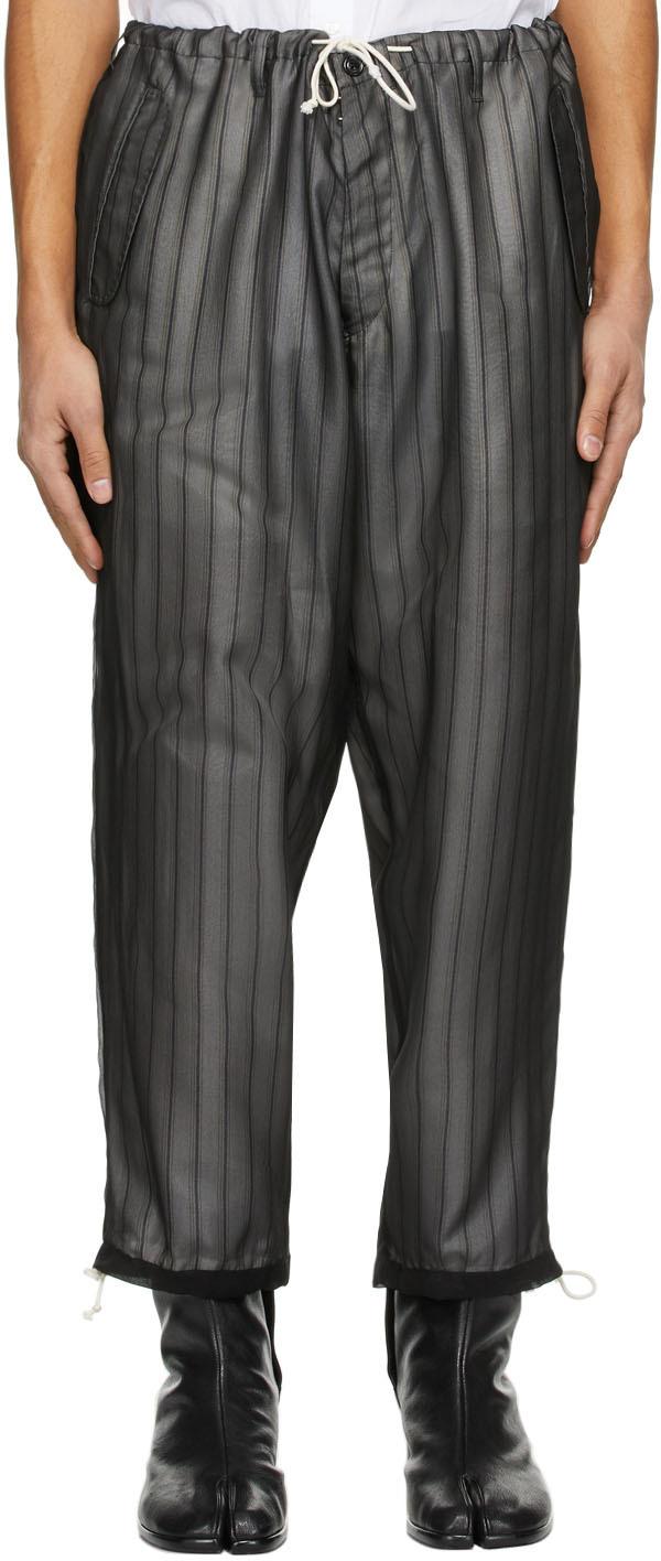 Maison Margiela 黑色条纹罩层长裤
