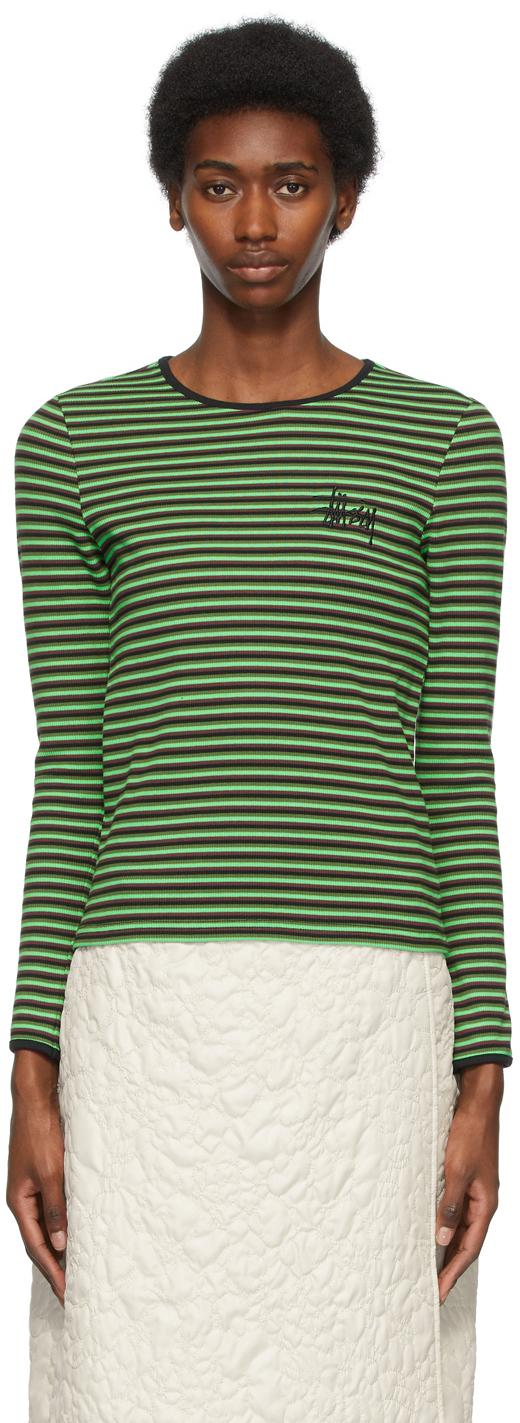 Stüssy 绿色 & 黑色 Lita 条纹长袖 T 恤
