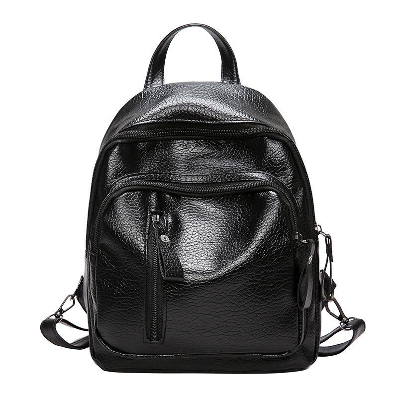 【免運】簡約純色雙肩後背包 學院風百搭書包 單肩斜跨時尚女式小包 休閒旅行背包