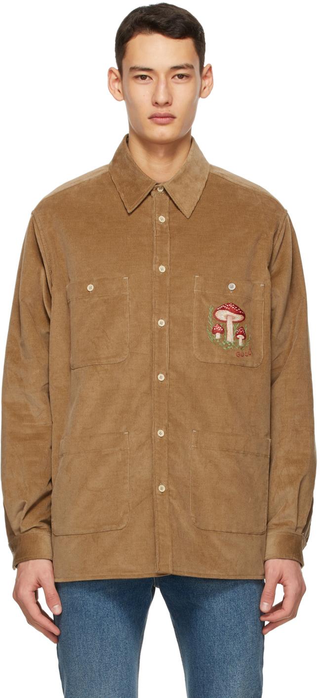 Gucci 棕色 Mushrooms 灯芯绒衬衫