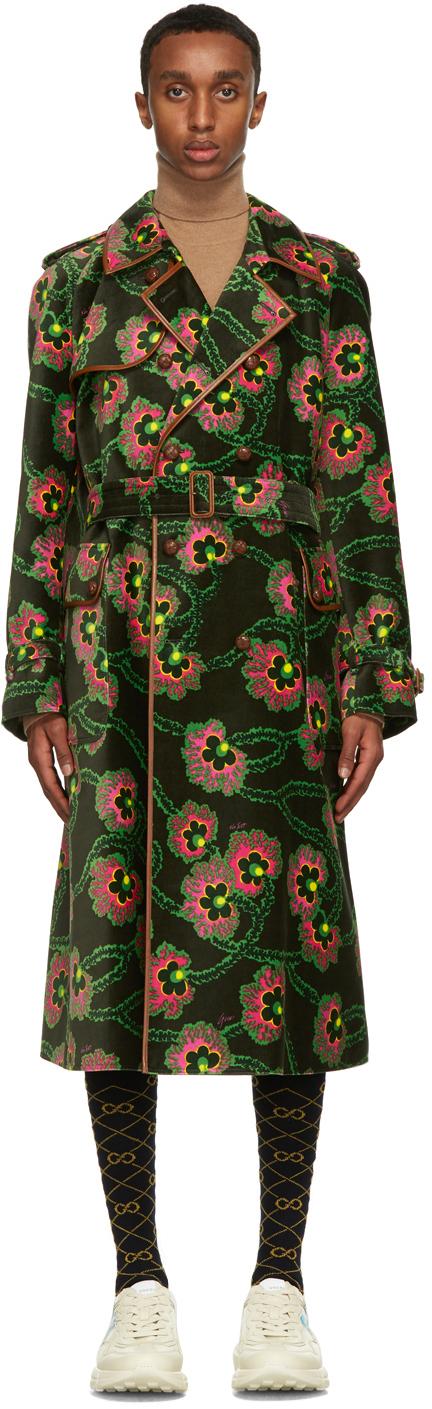 Gucci 绿色 Ken Scott 联名 Floral 丝绒大衣