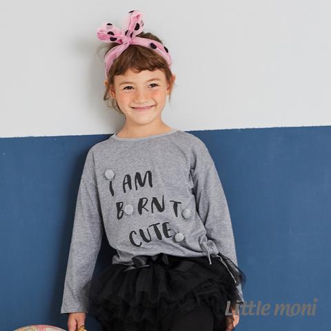 Little moni 立體毛球印圖綁帶上衣(灰色)