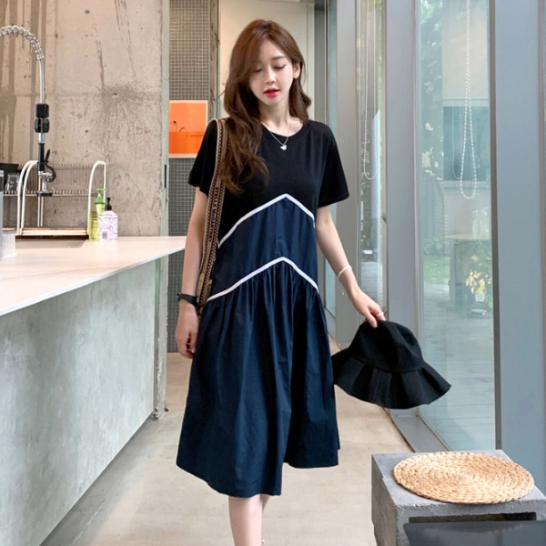 連身裙.韓系雜誌款圓領百褶拼接洋裝.白鳥麗子
