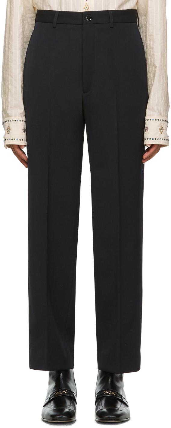 Gucci 黑色徽标羊毛长裤