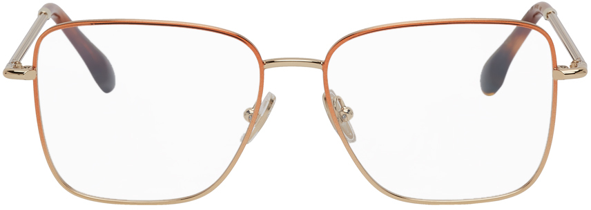 Victoria Beckham 红铜色 & 金色方框眼镜