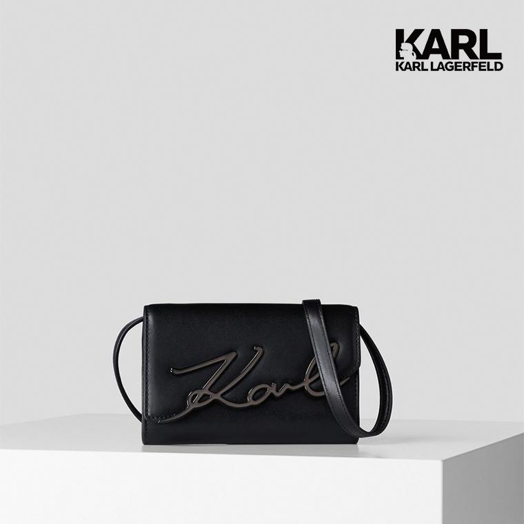【KARL LAGERFELD】KARL簽名真皮腰包-黑  (原廠公司貨)
