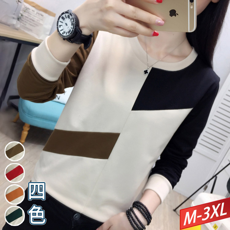 圓領半邊撞色拼接T恤(4色) M~3XL【134266W】【現+預】-流行前線-