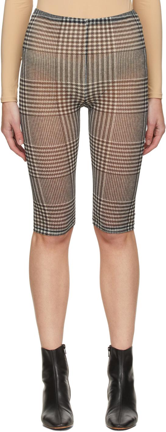 MM6 Maison Margiela 黑色 & 白色格纹网眼短裤
